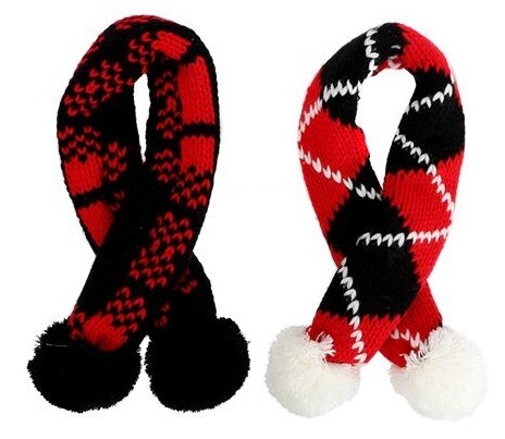 Plaid Dog Pom-Pom Scarves - 3 Sizes & 2 Colors!