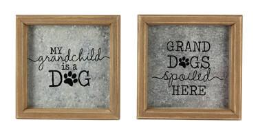 Wood & Tin Granddog Box Signs w/Easel