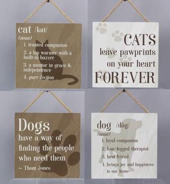 Decorative Rustic Wall Signs: Cat & Dog