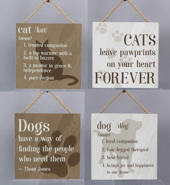 Decorative Rustic Wall Signs: Cat & Dog