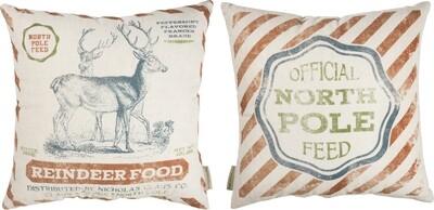 Christmas Reindeer Pillow - Reversible Linen/Cotton