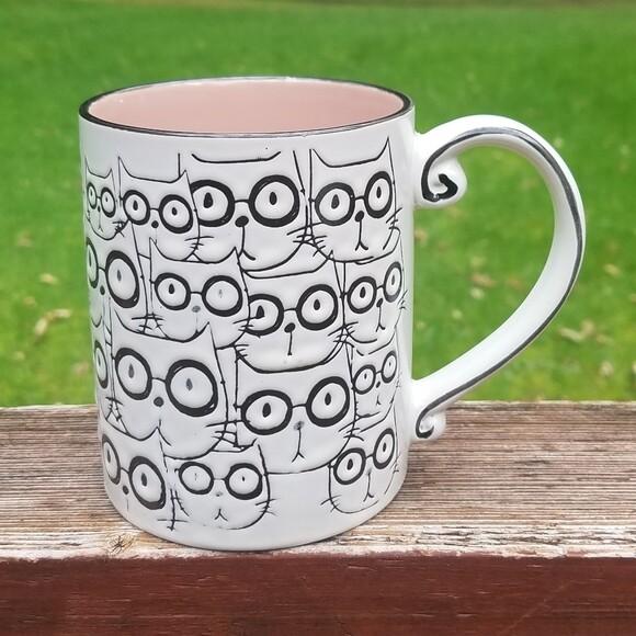 Ceramic Embossed Cat Faces Mug