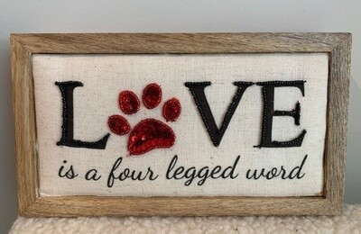 Beaded Fabric Wood Box Sign: ''Love is a Four Legged Word'