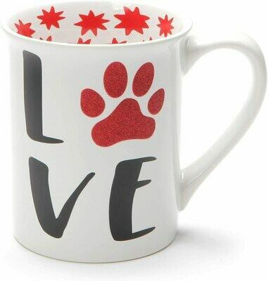 Glitter 'Love My Furry Friends' Stoneware 16 oz Mug