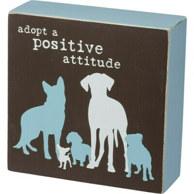 Wood Block Sign: 'Adopt a Positive Attitude'