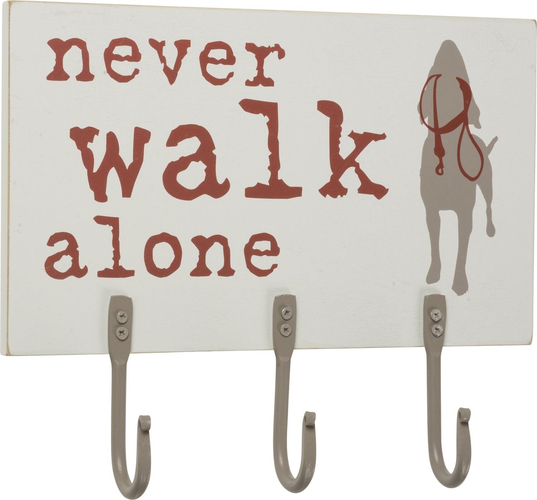 Keys, Masks & Leash Hook Board: 'Never Walk Alone'