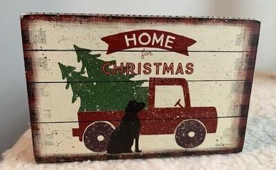 'Home For Christmas' Black Labrador Wood Box Sign