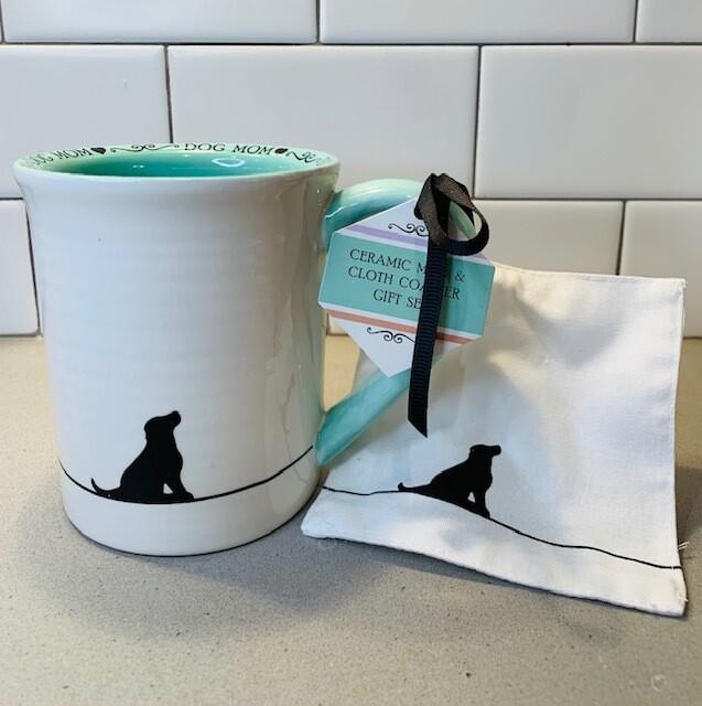 'Dog Mom' Ceramic Mug w/ Fabric Coaster