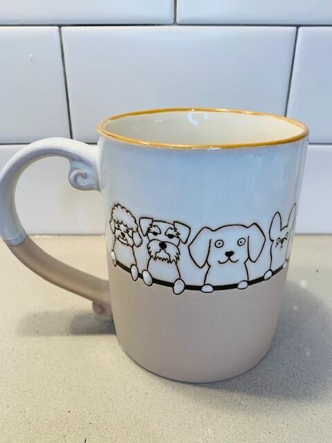 Ceramic Embossed Cute Dogs Mug
