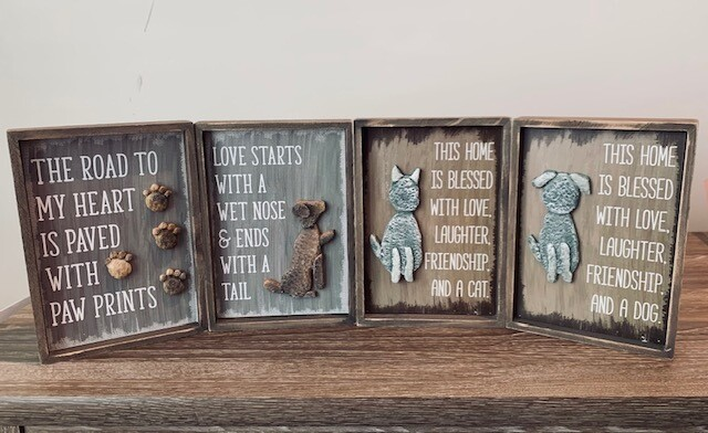 Stone & Wood Box Signs: Dog & Cat Sayings