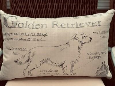 Golden Retriever Blueprint Farmhouse Pillow