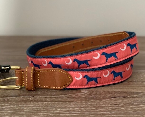 Simply Southern Men's Belt: 'Crescent Moon Dog'
