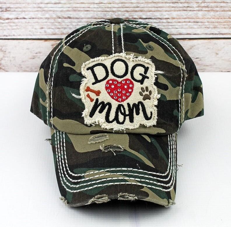 Dog Mom Rhinestone Embroidered Baseball Cap