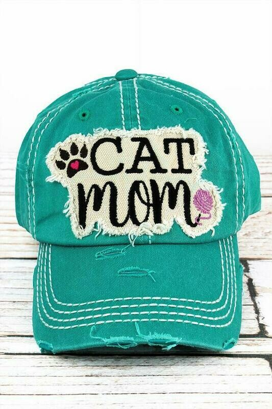 Cat Mom Embroidered Baseball Cap (2 colors!)