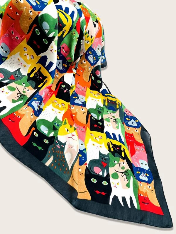 Multi-colored Cats Scarf