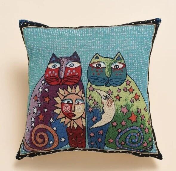 Pillow Cover: Sun & Moon Cats