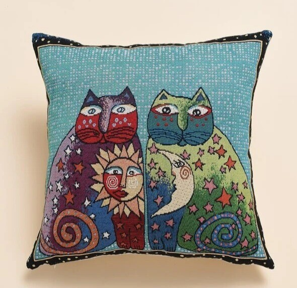 Pillow Cover: Sun & Moon Cats