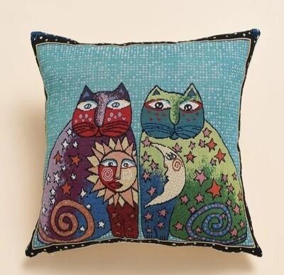 Sun & Moon Cats Soft, Woven Decorative Pillow