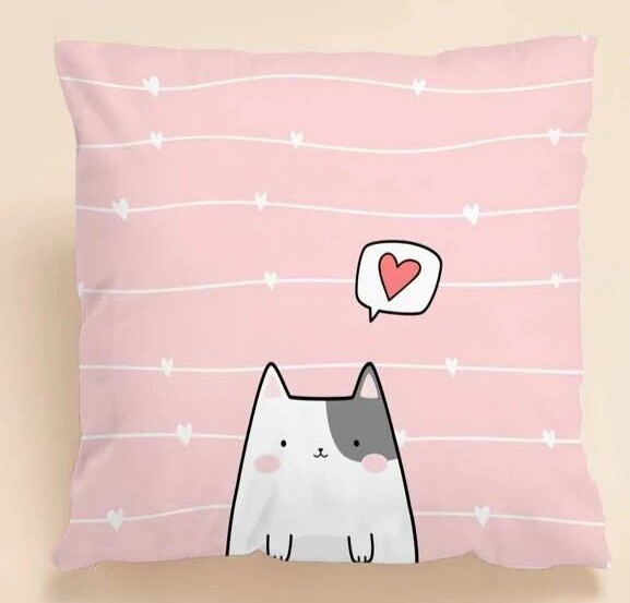 Pink Pillow Cover: Cat Loves You