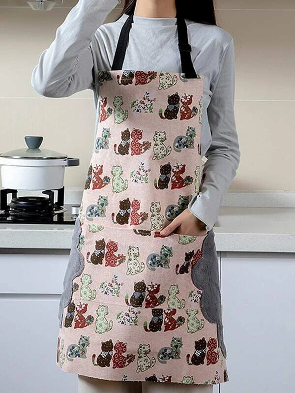 Cat Print Apron w/ Microfiber Hand Drying Cloth (2 colors)