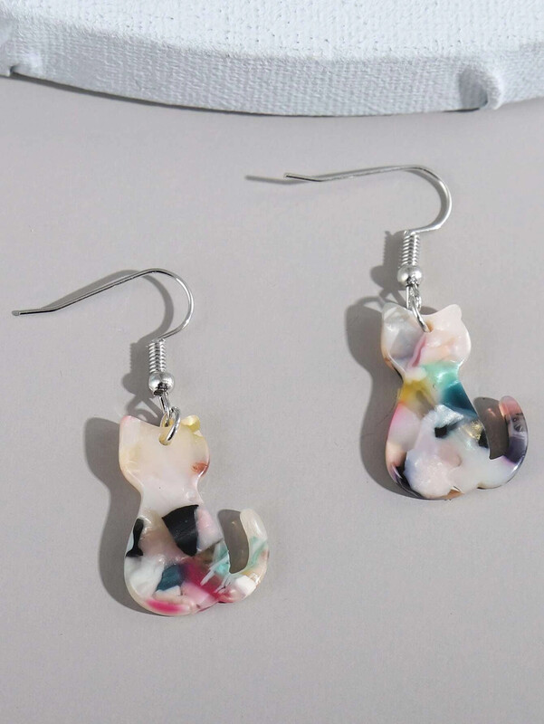 Acrylic Mosaic Cat Earrings