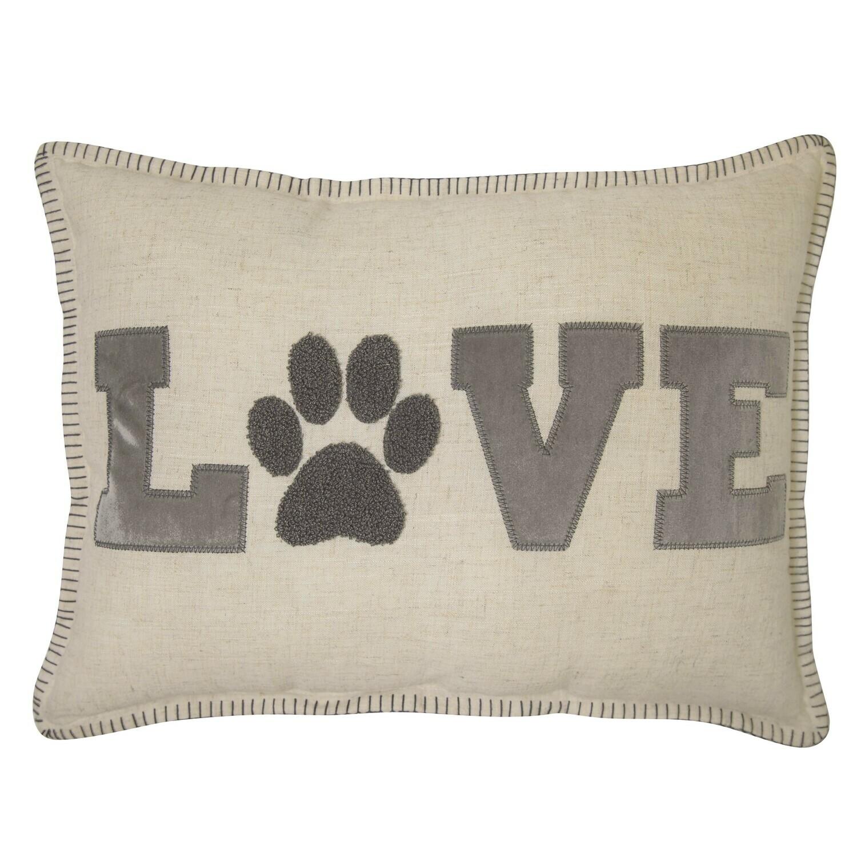 Reversible 'Love' Pillow w/Raised Fuzzy Paw