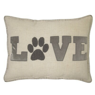 Reversible 'Love' Pillow w/Raised Fuzzy Paw