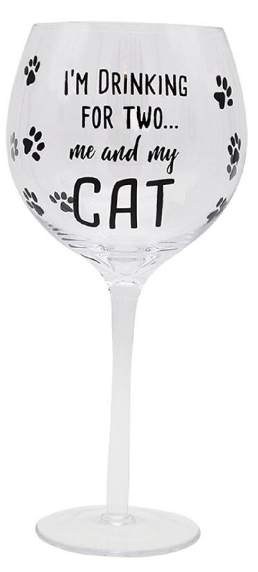 Wine Glass: 'Me and My Cat'