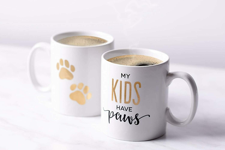 'My Kids Have Paws' Gold Matching Mug Set