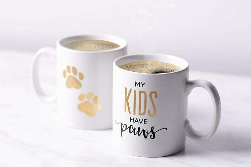 Gold Mug Set: 'My Kids Have Paws'
