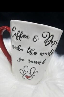 Mug w/Paw: 'Coffee & Dogs Make World Go Round'