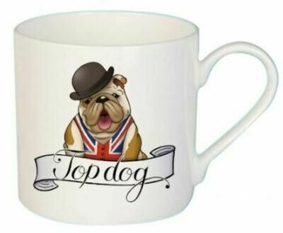 British Tattoo-Inspired Dog Mug: 'Top Dog'