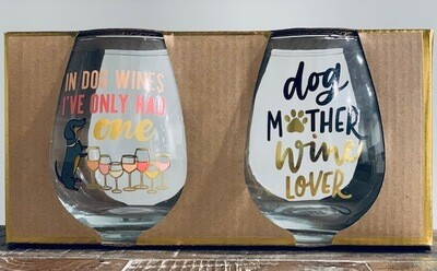 Stemless Wine Glass Set: Funny Dog Sayings