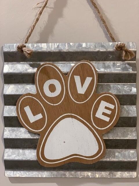 'Love Paw' Wood & Tin Wall Hanging