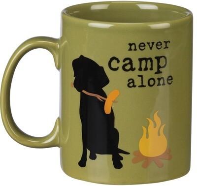 'Never Camp Alone' Dog w/Campfire Mug