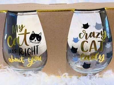Stemless Wine Glass Set: 'Crazy Cat Lady'