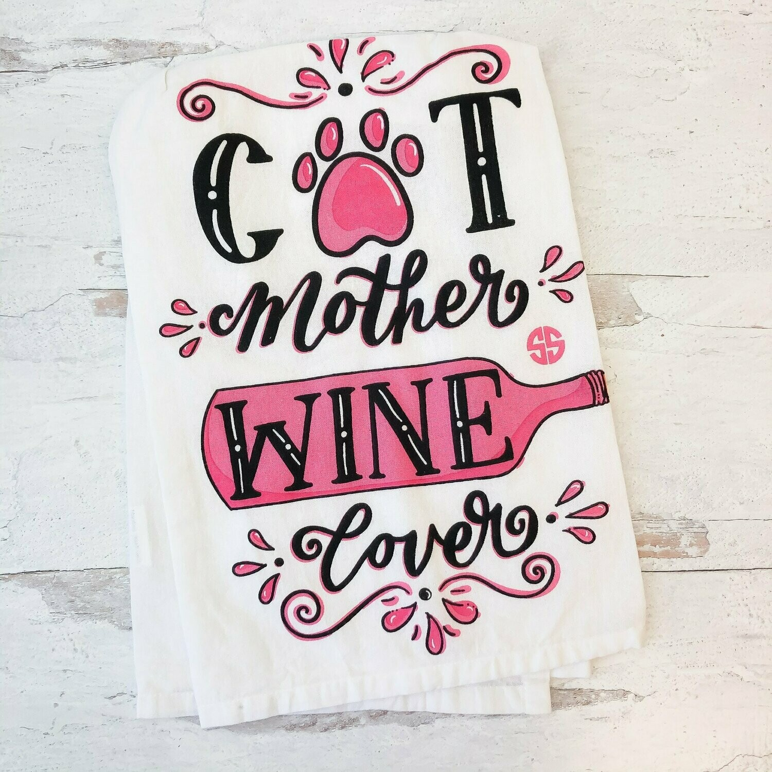 Simply Southern 'Cat Lover, Wine Lover' Kitchen Towel