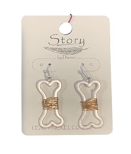 Wire-Wrapped 'Dog Bone' Brass Earrings