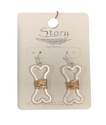 Wire-Wrapped 'Dog Bone' Brass Earrings