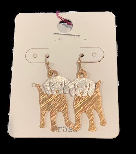 Puppy 2D Brass & Silvertone Earrings