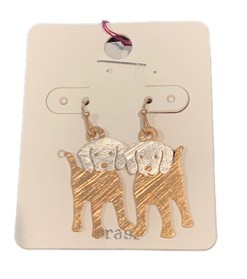 Puppy 2D Brass & Silvertone Earrings