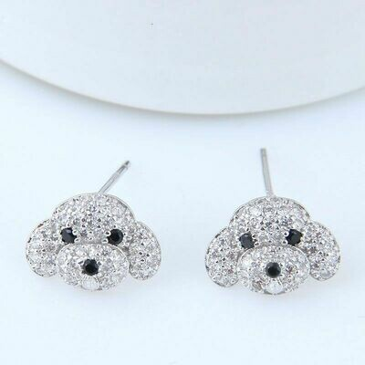 Cubic Zircona Puppy Dog Earrings