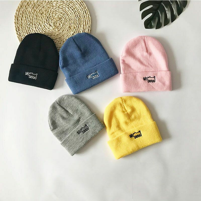 Unisex Embroidered Dog Beanie (3 colors)