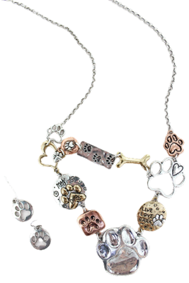 Paw Charms Necklace & Earrings Set: 'Live, Love, Bark'