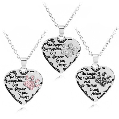 Rhinestone Paw Necklace: 'No Longer By My Side...' (2 colors!)