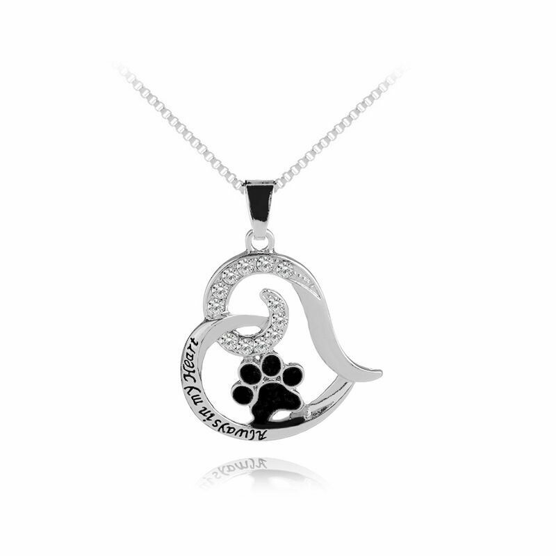 Bejeweled Paw & Heart Necklace: 'Always in My Heart'