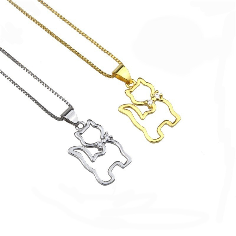 Rhinestone Platinum Cat Necklace (Gold & Silver)