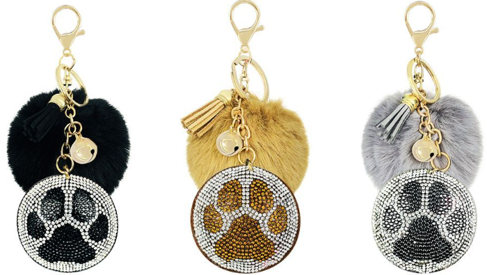 Bejeweled Paw w/Fluffball Keychain (3 colors!)