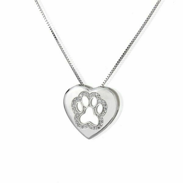 'Bejeweled Paw' in Heart Platinum Necklace