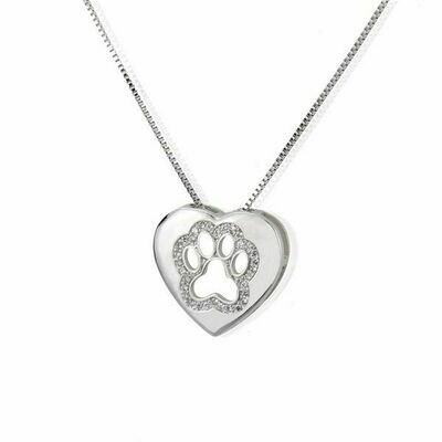Rhinestone Paw inside Heart Platinum Necklace